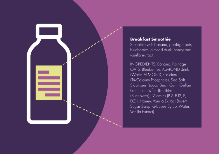 Label for bottle of smoothie with allergens listed written in capital letters