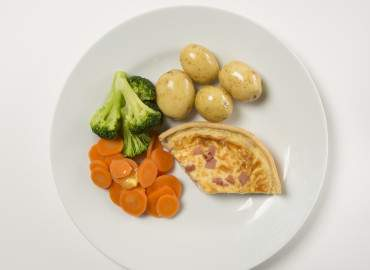 Shop bought quiche with potatoes and vegetables