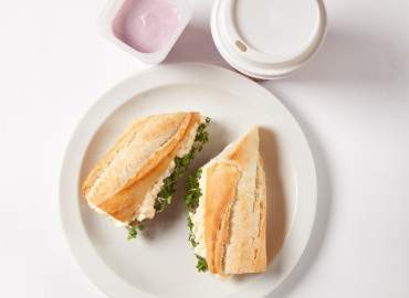 Egg and cress mayonnaise baguette, fruit yogurt and skinny latte