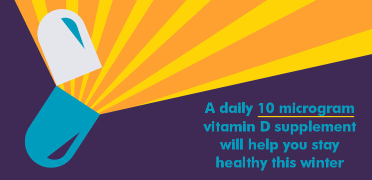 illustrated Vitamin D capsule with text that reads a daily vitamin D supplement will help you stay healthy this winter