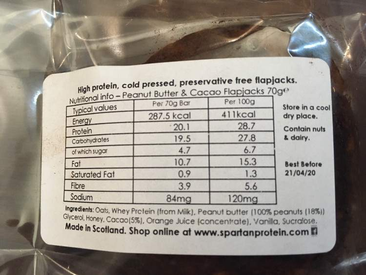 Spartan protein peanut butter and cacao flapjack bar ingredients and nutrition information