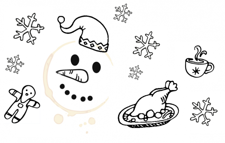 Food Standards Scotland Christmas doodles of Snowman, snowflakes and turkey