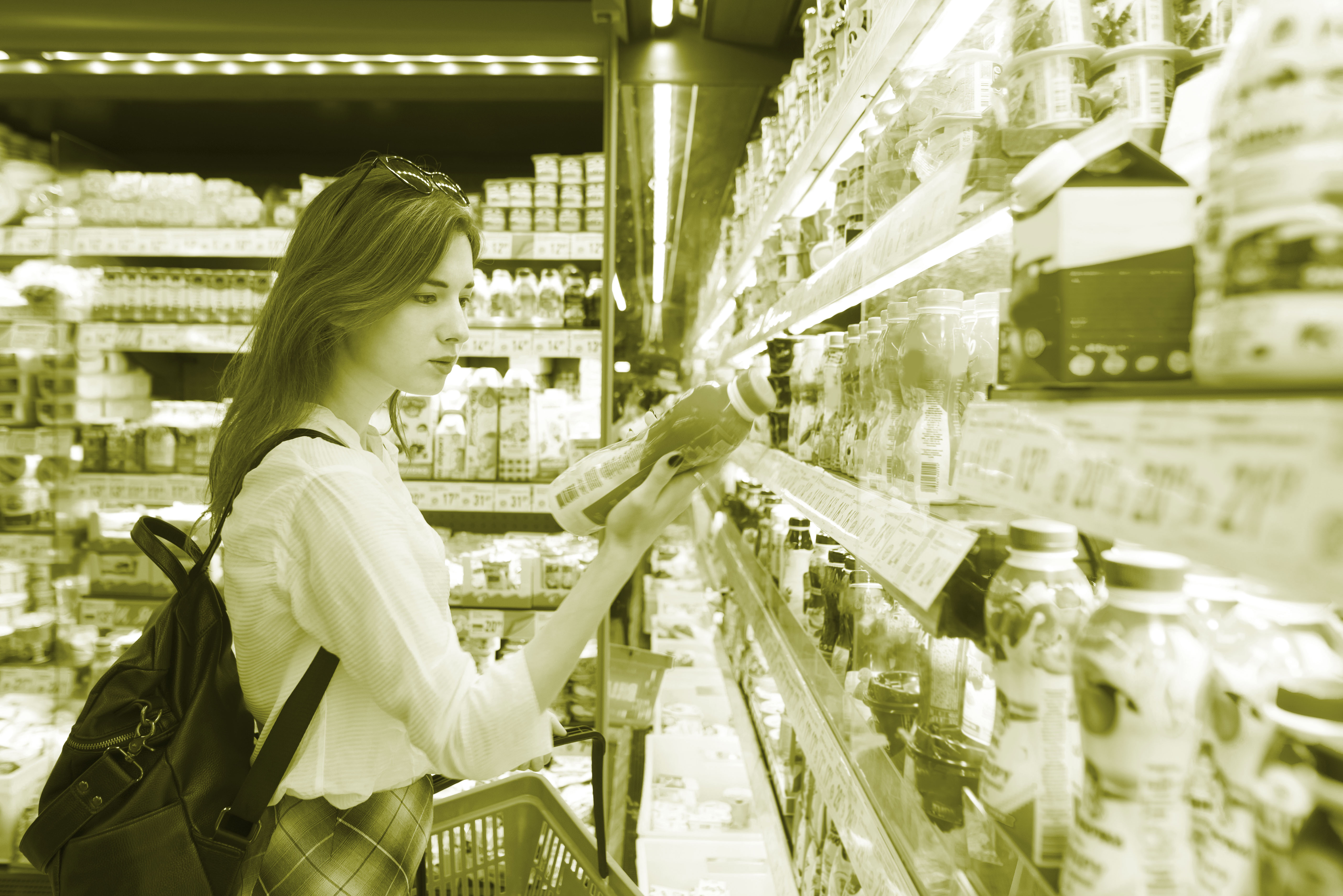 Food labelling after brexit, customer looking at food label