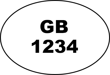 Oval shape with GB written in the middle and four numbers written underneath