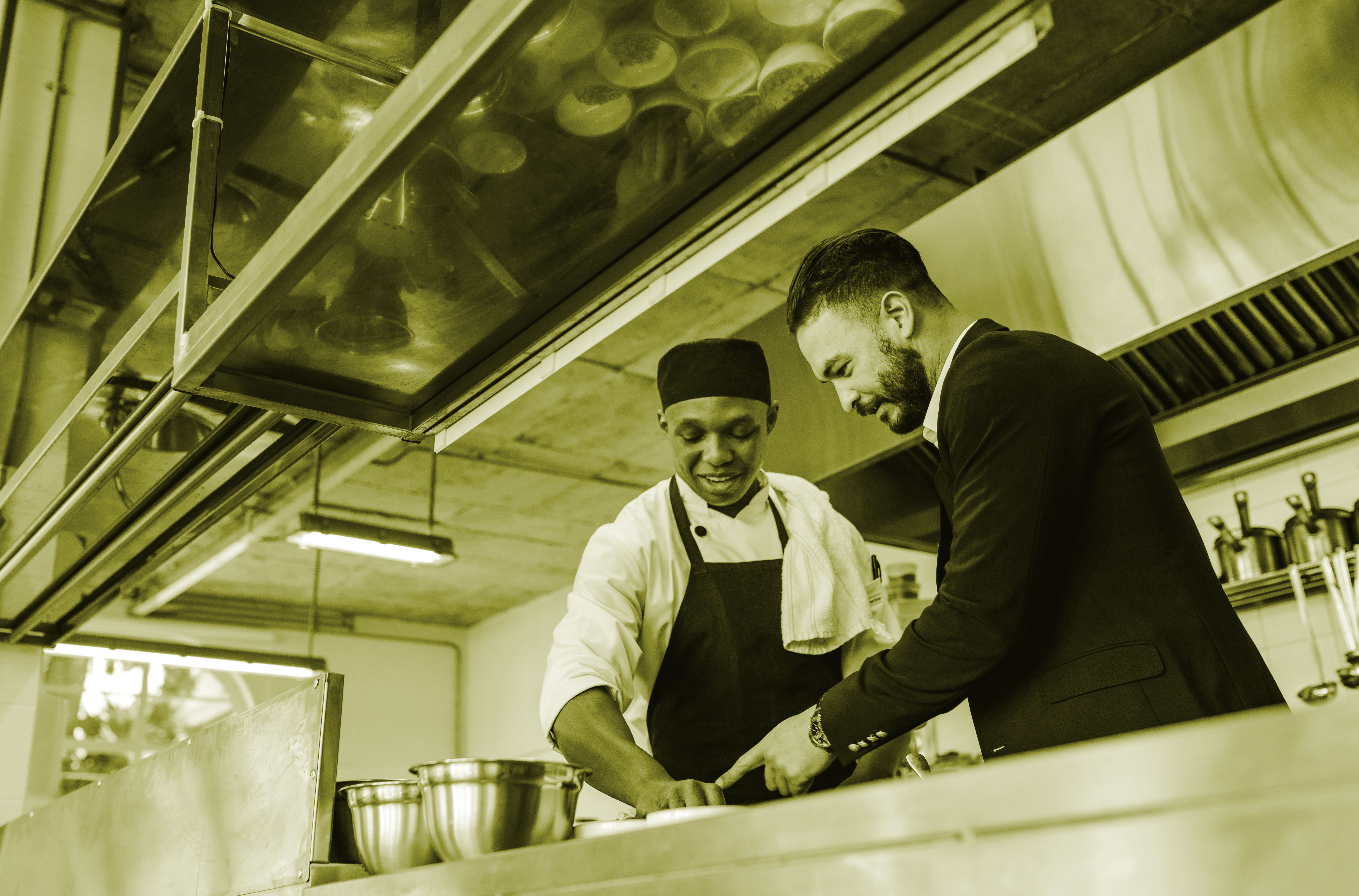 Local authority information after brexit, chef speaking to businessman