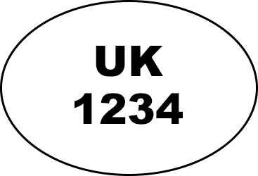 Oval shape with UK written in the middle and four numbers written underneath