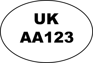 Oval shape with UK written in the middle and AA123 written underneath