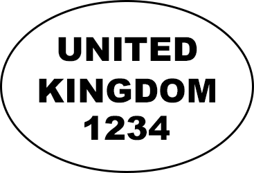 Oval shape with United Kingdom written with four numbers written underneath
