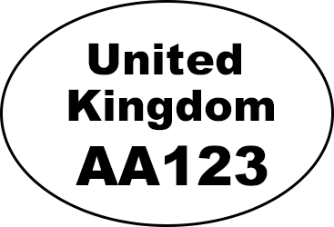 Oval shape with United Kingdom written in the middle and AA123 written underneath
