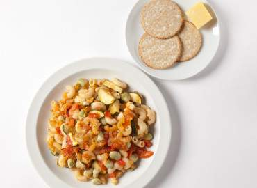 Pasta ratatouille bake with oatcakes and cheese.